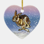 liebres y reno adorno de cerámica en forma de corazón