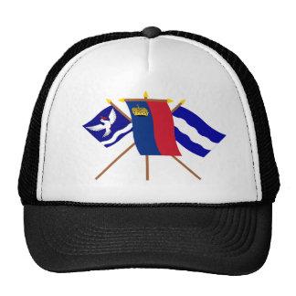 Liechtenstein and Eschen Flags Mesh Hats