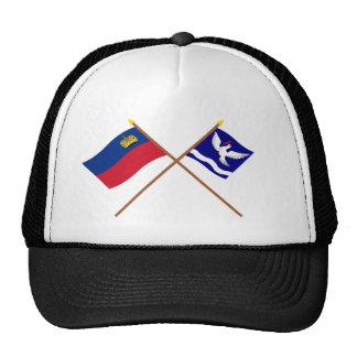 Liechtenstein Flag and Eschen Armorial Banner Mesh Hats