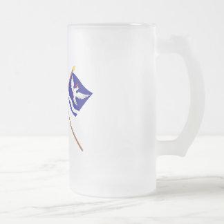 Liechtenstein Flag and Eschen Armorial Banner 16 Oz Frosted Glass Beer Mug