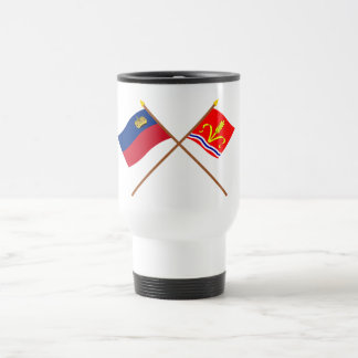 Liechtenstein Flag and Ruggell Armorial Banner 15 Oz Stainless Steel Travel Mug