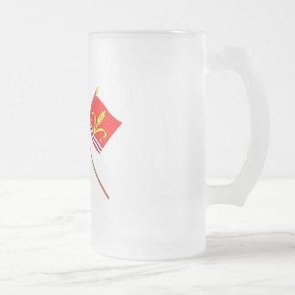 Liechtenstein Flag and Ruggell Armorial Banner 16 Oz Frosted Glass Beer Mug