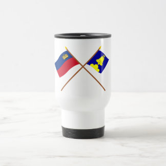 Liechtenstein Flag and Triesenberg Armorial Banner 15 Oz Stainless Steel Travel Mug