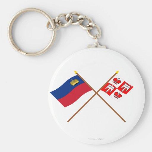 Liechtenstein Flag and Vaduz Armorial Banner Key Chains