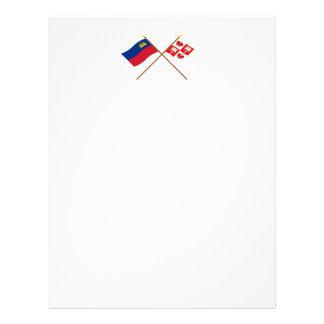 Liechtenstein Flag and Vaduz Armorial Banner Letterhead Template