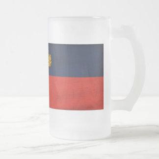 Liechtenstein Flag Frosted Glass Beer Mug