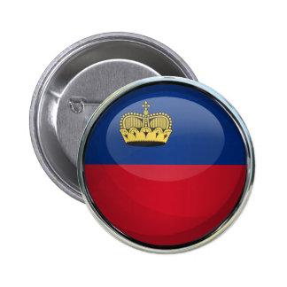 Liechtenstein Flag Glass Ball Pinback Button