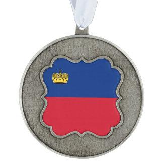 Liechtenstein Flag Pewter Ornament