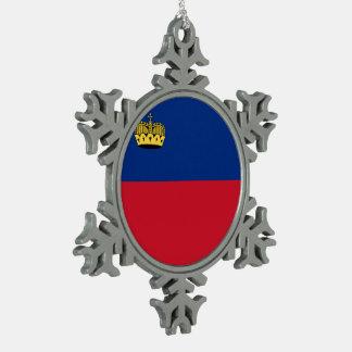 Liechtenstein Flag Snowflake Pewter Christmas Ornament