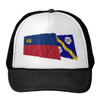 Liechtenstein & Gamprin Waving Flags Trucker Hat