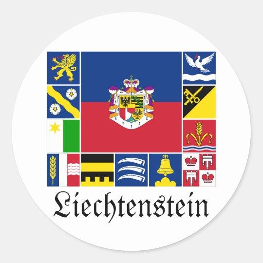 Liechtenstein & its Gemeinde Flags Classic Round Sticker