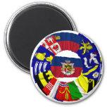 Liechtenstein & its Gemeinde Flags 2 Inch Round Magnet