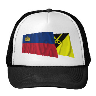 Liechtenstein & Mauren Waving Flags Trucker Hat