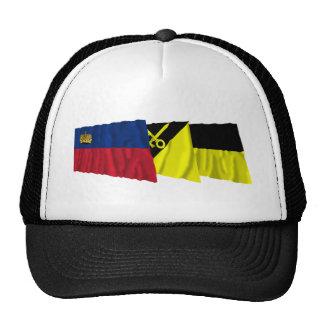 Liechtenstein & Mauren Waving Flags Mesh Hats