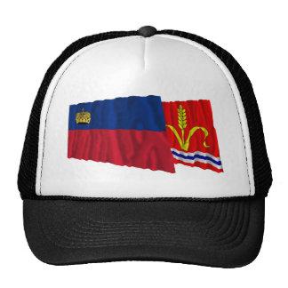 Liechtenstein & Ruggell Waving Flags Trucker Hat