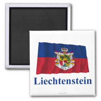 Liechtenstein Waving State Flag with Name Magnet