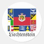 Liechtenstein y sus banderas de Gemeinde Etiqueta Redonda