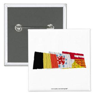 Liège Waving Flags Trio (German) Pins