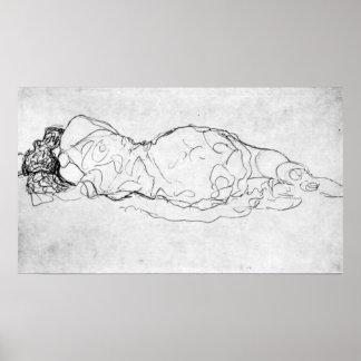 Liegende, back figure by Gustav Klimt Poster
