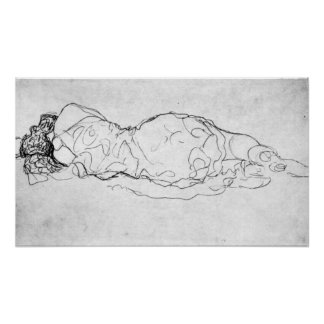 Liegende, figura trasera de Gustavo Klimt Posters