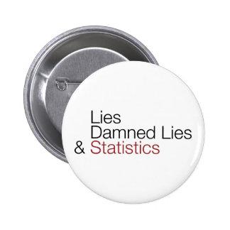 Lies, damned lies, & statistics pinback button