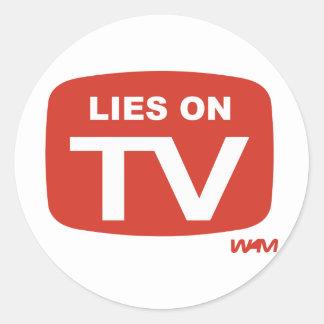 LIES ON TV CLASSIC ROUND STICKER