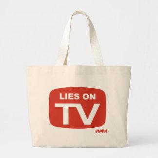 LIES ON TV LARGE TOTE BAG