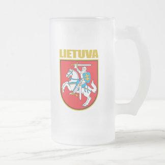 Lietuva (Lithuania) COA Frosted Glass Beer Mug