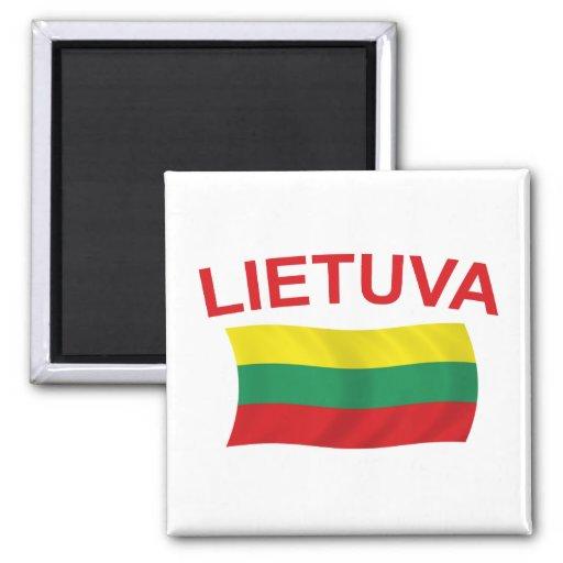 Lietuva (Lituania) litros rojos Imán Cuadrado