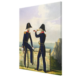 Lieutenants, plate 1 from 'Costume of the Royal Na Stretched Canvas Print