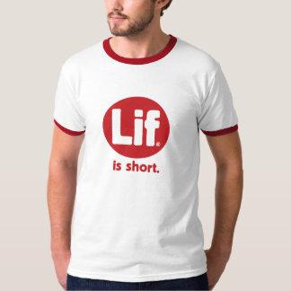 Lif. Is Short. Retro. Red. Tee Shirt