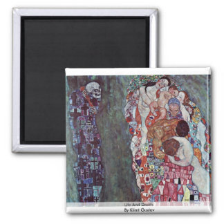 Life And Death By Klimt Gustav 2 Inch Square Magnet