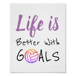 Life And Goals Motivational Netball Quote Poster