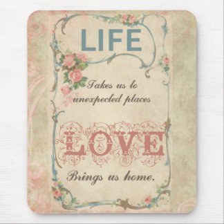 Life and Love on an Antique French Label Mouse Pad