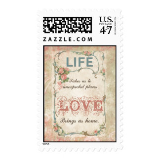 Life and Love on an Antique French Label Postage Stamp