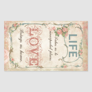 Life and Love on an Antique French Label Rectangular Sticker