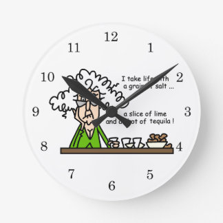 Life and Tequila Humor Round Wallclock
