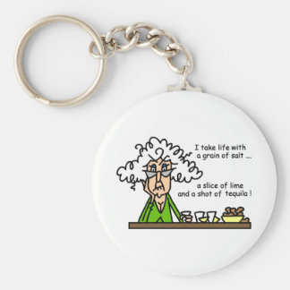 Life and Tequila Humor Basic Round Button Keychain