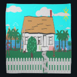 """Life At The Beach Bandana<br><div class=""""desc"""">House with fence by the beach water with trees and flowers all around.  The mountains settings in the background. Two women outside exercising while one woman looks out the window as the radio playing.  The dog barks at the walking flamingo and the sailboat calmly passes by.</div>"""