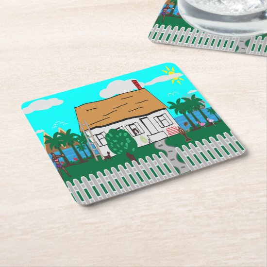 Life At The Beach Square Paper Coaster