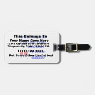 life be like without salsa blue text red congas luggage tag