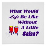 life be like without salsa purple text red congas poster