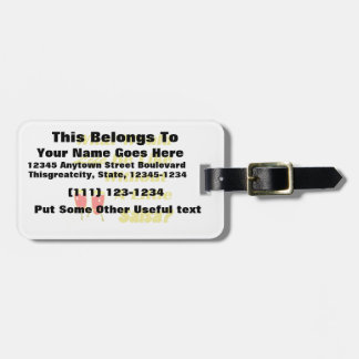 life be like without salsa yellow text red congas luggage tag