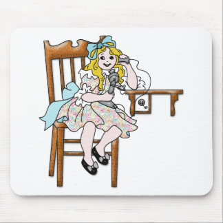 Life Before Twitter - Little Girl on Phone Mouse Pad