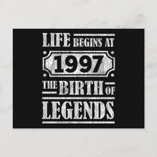 Life Begins 1997 The Birth Of Legend 24th Birthday Postcard