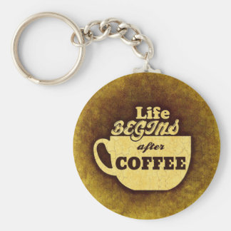 Life Begins After Coffee Basic Round Button Keychain