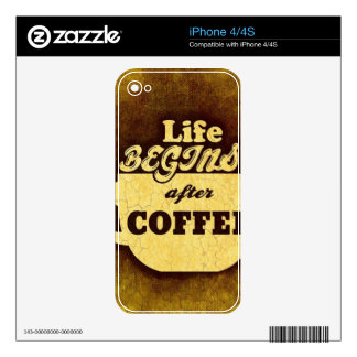 Life Begins After Coffee Decals For iPhone 4S