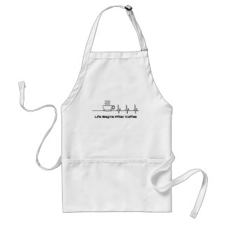 Life Begins After Coffee Heartbeat Adult Apron
