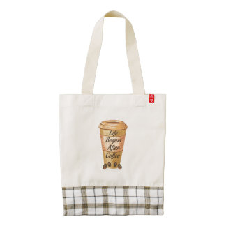 Life Begins After Coffee Zazzle HEART Tote Bag