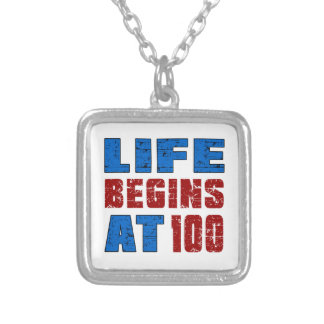 Life Begins At 100 Square Pendant Necklace